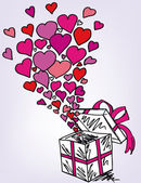 Gift boxes sketch filled with much love. vector illustration — Stock Vector