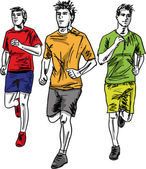 Sketch of men marathon runners. Vector illustration — Stock Vector