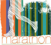 Marathon runner in abstract background. Vector illustration — Stock Vector