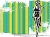 Sketch of female marathon runner. Vector illustration — Stock Vector