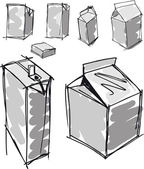 Sketch of milk boxes in some different angle. Vector illustration — Stockvector