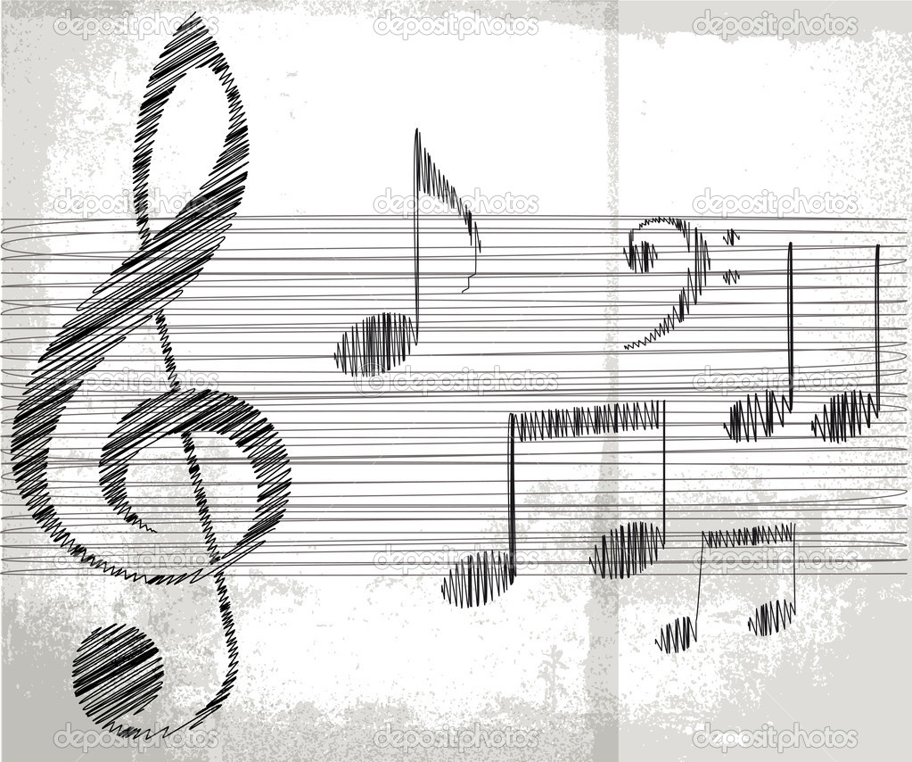 Sketch of music notes. vector illustration — Stock Vector #10474199