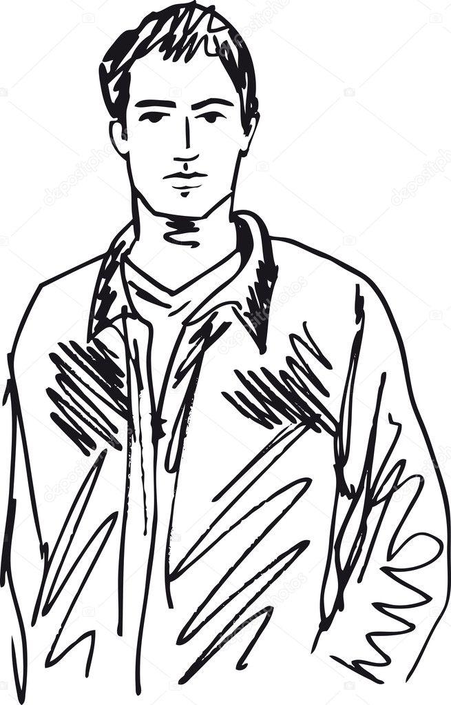 Man S Face Line Drawing : Dibujo de hombre guapo ilustración vectorial — vector