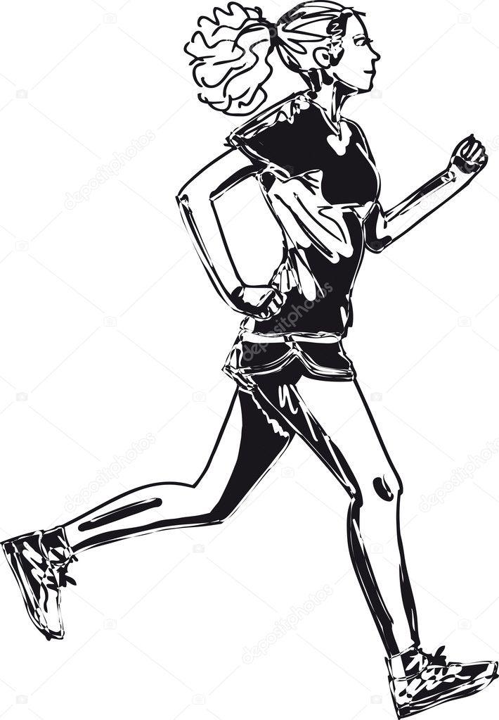 Marathon Runner Logo of Female Marathon Runner