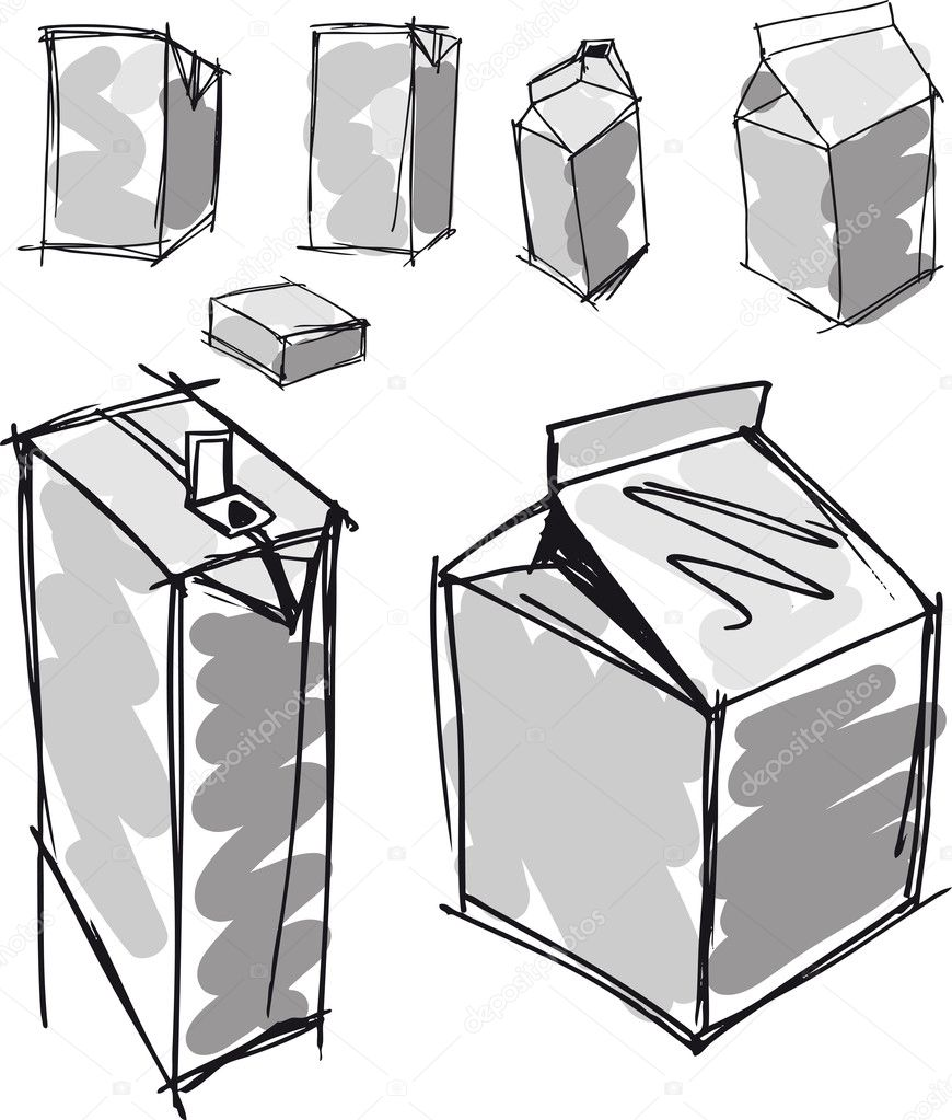 Sketch of milk boxes in some different angle. Vector illustration  Stock Vector #10476184