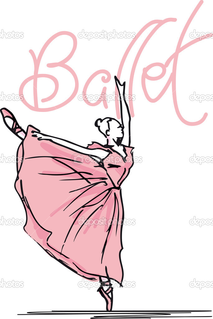 Sketch of ballet dancer. Vector illustration — Stock Vector #10476195