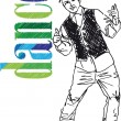Royalty-Free Stock Vector Image: Sketch of Young man dancing hip-hop. Vector illustration