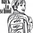Royalty-Free Stock Vector Image: Sketch of School kid smiling. Vector illustration