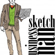 Sketch of fashion handsome man with laptop. Vector illustration — Stock Vector #10489253