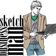 Sketch of fashion handsome man with laptop. Vector illustration — Stock Vector