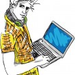 Sketch of Young man with laptop. Vector illustration — Image vectorielle