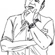 Vector de stock : Sketch of thoughtful mature man. Vector illustration