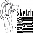 Sketch of fashion handsome man with laptop. Vector illustration — Stock Vector #10489395