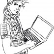 Stock Vector: Sketch of Young man with laptop. Vector illustration
