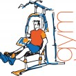 Sketch of man using pulldown machine in gym. Vector illustration — Stock Vector