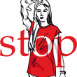 Sketch of Woman showing his hand in signal of stop. — Stock Vector