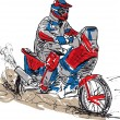 Sketch of motocross bike increase speed in track. Vector illustration - Stock Vector