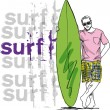 Sketch of man with surfboard. Vector illustration — Stock Vector #10489515