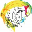 Sketch of hip hop singer singing into a microphone. — Stock Vector #10489528