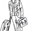 Sketch of a successful young business man with travel bag. — Stock Vector