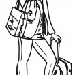 Sketch of a beautiful young woman with travel bag. — Stock Vector