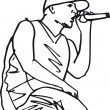 Stock Vector: Sketch of hip hop singer singing into a microphone.