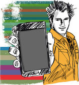 Sketch of Handsome guy showing his Modern Smartphone. — Stok Vektör