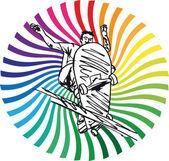 滑板男孩的剪影。矢量插画 — 图库矢量图片