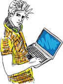 Sketch of Young man with laptop. Vector illustration — Stock Vector