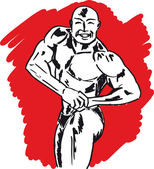 Sketch of bodybuilder. vector illustration — Stock Vector