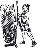 Sketch of a woman working out at the gym with dumbbell weights. — Cтоковый вектор
