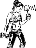 Sketch of a woman working out at the gym with dumbbell weights. — Stock Vector