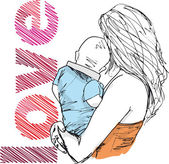 Sketch of mom and baby, vector illustration — Stock Vector