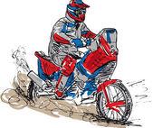 Sketch of motocross bike increase speed in track. Vector illustration — Stock Vector