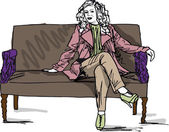Sketch of beautiful luxurious woman sitting on a vintage couch. — Vector de stock