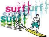 Sketch of man with surfboard. Vector illustration — Stock Vector