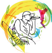 Sketch of hip hop singer singing into a microphone. — Stock Vector