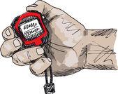 男性只手握住一个秒表的剪影。矢量插画 — 图库矢量图片