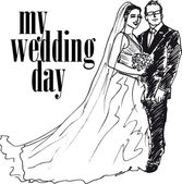 Sketch of Bride and groom. Vector illustration — Stockvektor