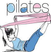 Sketch of pilates woman rubber resistance band fitness sport gym — Stock Vector