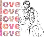 Croquis du couple. illustration vectorielle — Vecteur
