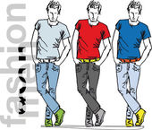 Sketch of fashion handsome men. Vector illustration — Stock Vector