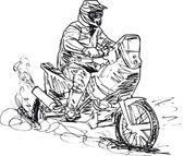 Sketch of motocross bike increase speed in track. — Stock Vector