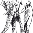 Sketch of elephant. Vector illustration - Stock Vector