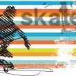 Abstract Skateboarder jumping. Vector illustration - Stok Vektör