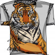 Tee sketch of tiger. vector illustration — Stock Vector