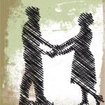 Sketch of dancing couple. Vector illustration — Stock Vector