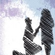 Sketch of man proposing to a woman while standing on one knee — Stock Vector