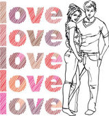 Sketch of couple. Vector illustration — Stock Vector