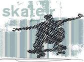 Abstract Skateboarder jumping. Vector illustration — Stock vektor